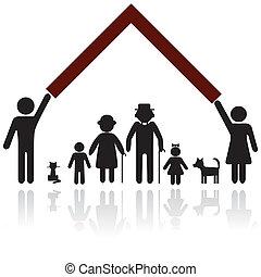 bescherming, silhouette, gezin, mensen
