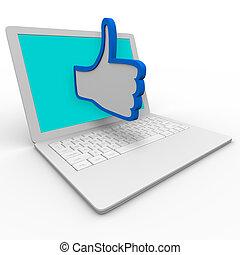 bespreken, thumb's, goed, computer, draagbare computer, symbool, op, internet