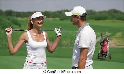 besprekingen, vrouw, golf, man