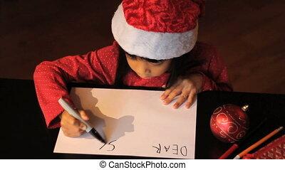 beste; geachte, meisje, schrijft, kerstman