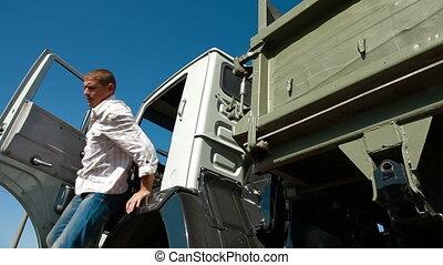 bestuurder, truck cab, verwaarlozing