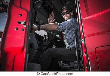 bestuurder, vrachtwagen, verwaarlozing, magazijn