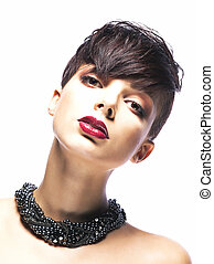 betoverend, mode, -, jonge vrouw , verticaal, modieus, model