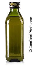 bevat, af)knippen, witte , fles, bestand, vrijstaand, olive, achtergrond., steegjes, olie