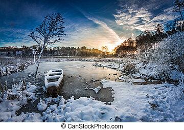 bevroren, winter, zonopkomst, meer