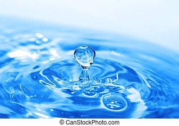 bewateer oppervlakte, blauwe , gespetter