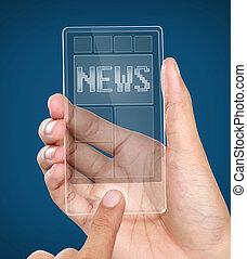 beweeglijk, scherm, moderne, telefoon, nieuws, transparant, smart