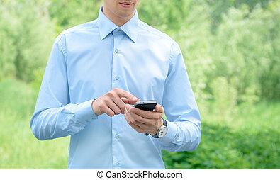 beweeglijk, zakenman, telefoon