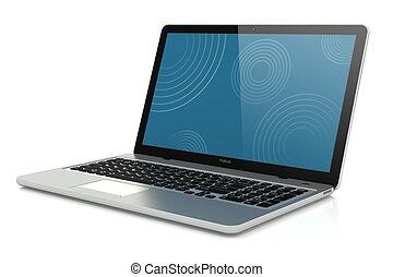 beweeglijkheid, moderne, laptop., zilver