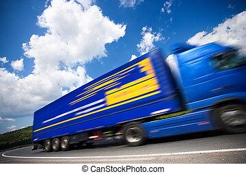 bewegende vrachtwagen, vasten