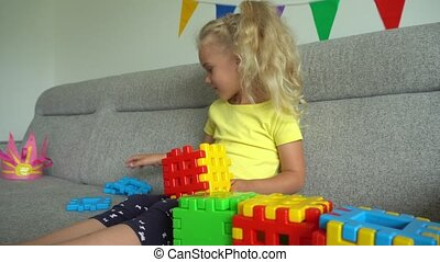 beweging, vrolijke , creatief, parts., speelspel, constructor, gimbal, meisje, stukken