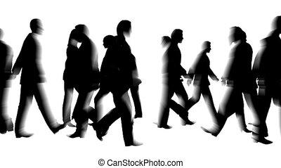 bewegingen, menigte, blured, mensen