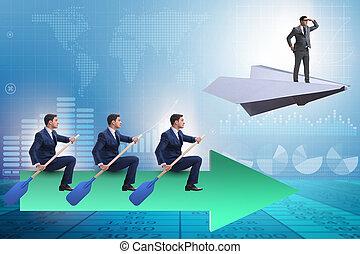 bewindvoering, concept, gevarieerd, zakenlui