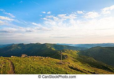 bewolkt, berg, zomer, landscape