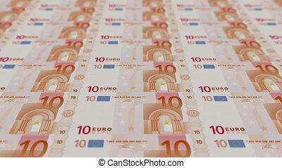 bezig met afdrukken van, geld, eurobiljet, rekeningen, tien