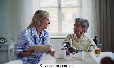 bezoeker, het meten, gezondheid, home., senior, bloed, vrouw, druk