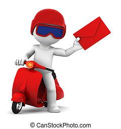bezorgen, mail., vrijstaand, brievenbesteller