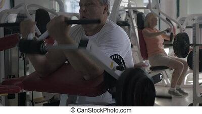 biceps, uit, gym, werkende , man