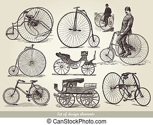 bicycles, set, oud