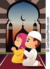 biddend, moskee, kinderen, moslim