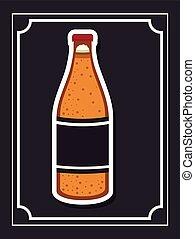bier, drank, ontwerp, fles