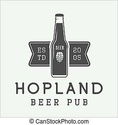 bier, embleem, etiket, style., mark, logo, ouderwetse , badge