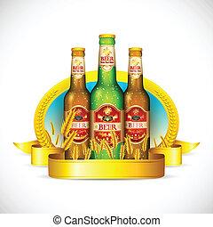 bier, gerst, fles