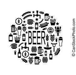 bier, iconen, black , hapjes