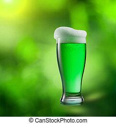bier, natuurlijke , vaag, achtergrond., glas, groene