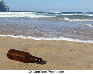 bier, strand, fles