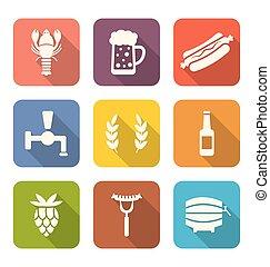 bieren, set, hapjes, kleurrijke, iconen