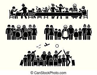 bijeenkomst, activities., gezin, groot, familie, hereniging