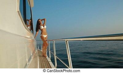 bikini, het genieten van, jacht, vacatio, vrouw