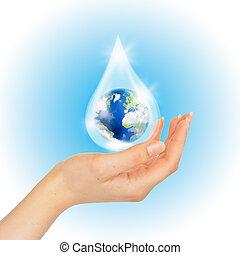 binnen, druppel, hand, water, white., aarde