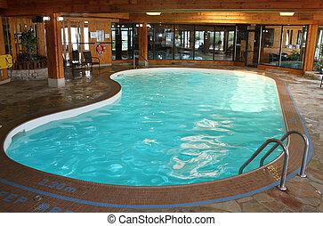 binnen, pool, zwemmen