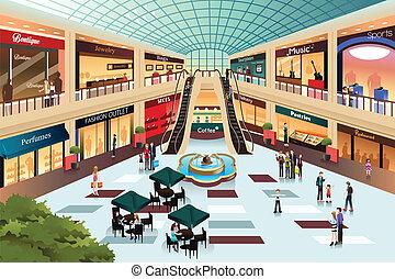binnen, shoppen , scène, mall