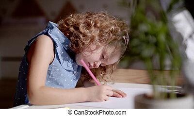 binnen, tekening, meisje, kleine, thuis, schattig, pictures.