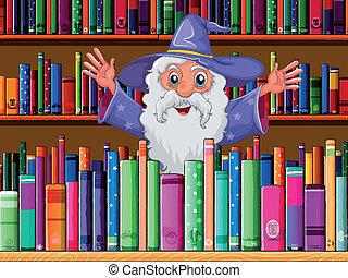 binnen, tovenaar, bibliotheek