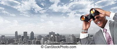 binoculars., afrikaans-amerikaan, zakenman