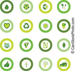 bio, set, iconen, eco, symbolen, milieu, ronde, gevulde