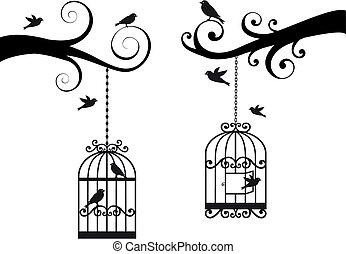 birdcage, vogels, vector