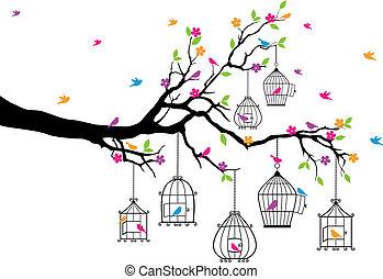 birdcages, boompje, vogels