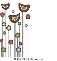 birds., vector, boompje, illustratie
