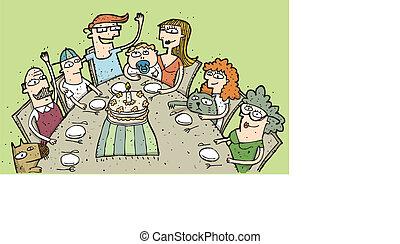 birthday:, eps10, ongeveer, gezin, illustratie, hand, vieren, vector, mode!, getrokken, tafel.