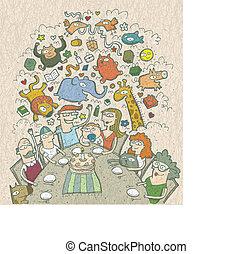 birthday:, eps10, ongeveer, gezin, vieren, getrokken, illustratie, hand, above., vector, mode!, tafel, elfje, schepsels