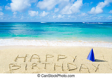 """birthday"""", strand, zanderig, """"happy, meldingsbord"""