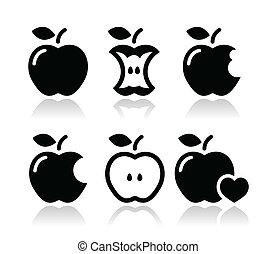 bitten, appel, appel kern, iconen