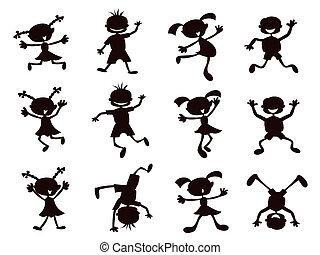 black , geitjes, silhouette, spotprent