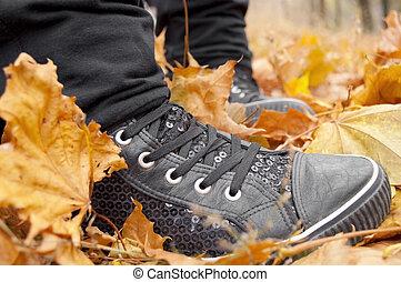 black , gymschoen, leaves.