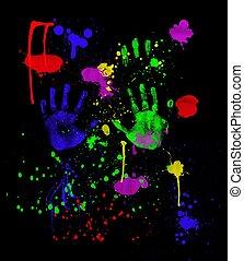 black , neon, fingerpainting